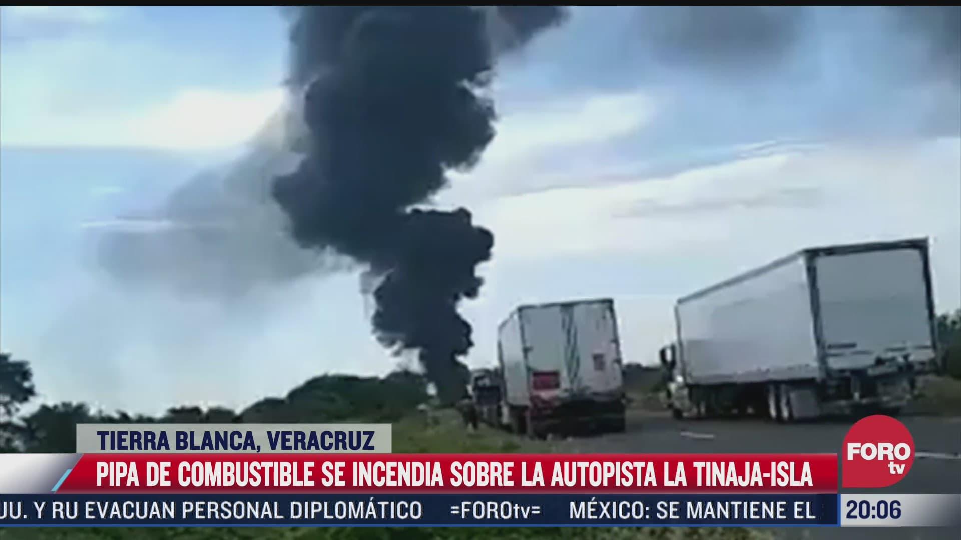 pipa se incendia sobre autopista la tinaja isla en veracruz