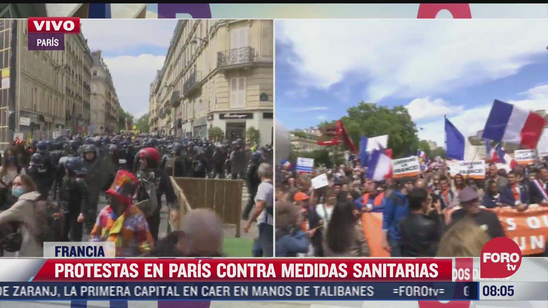 protestan en paris contra el pase sanitario por covid