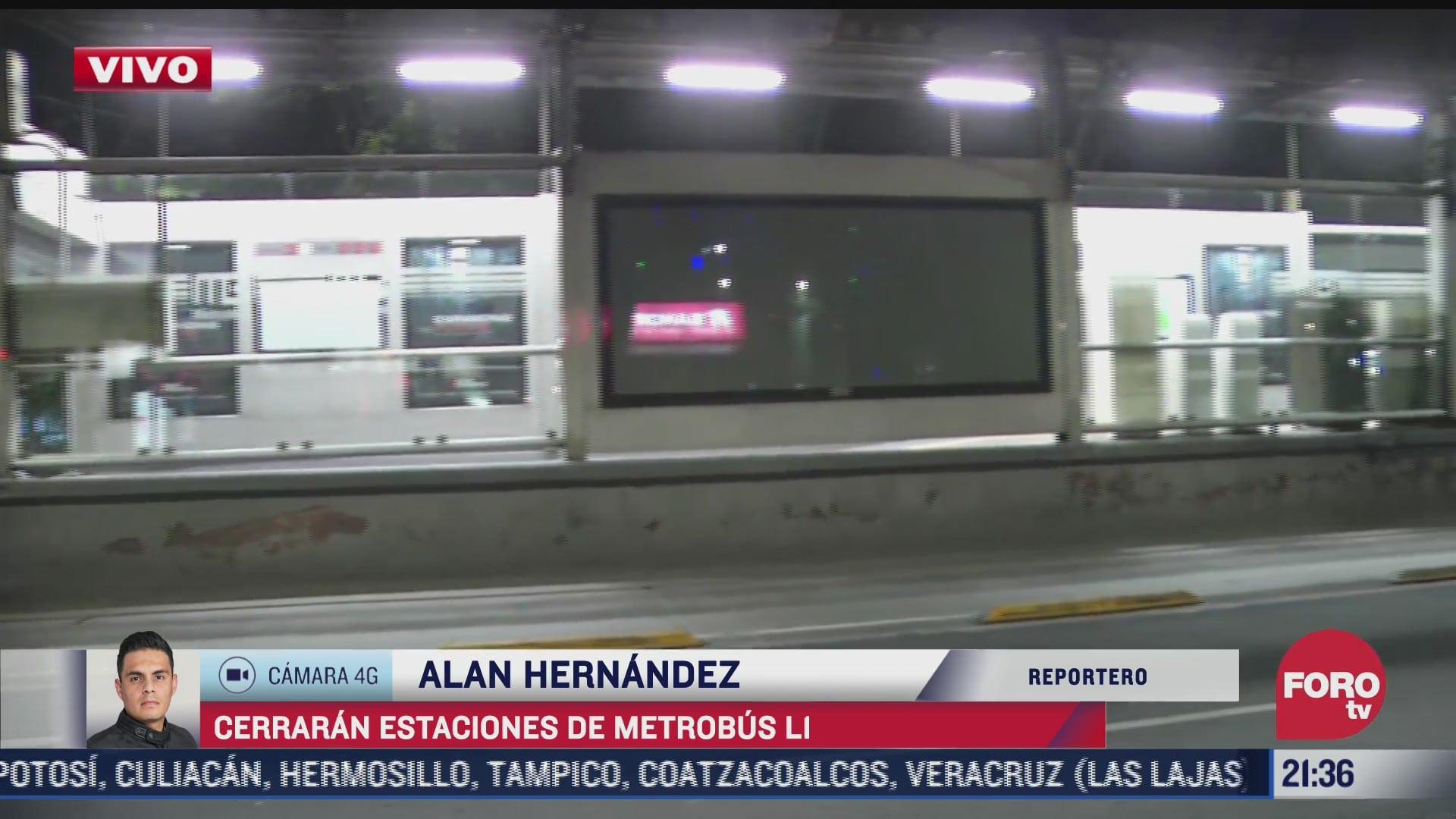 que estaciones del metrobus cierran por mantenimiento