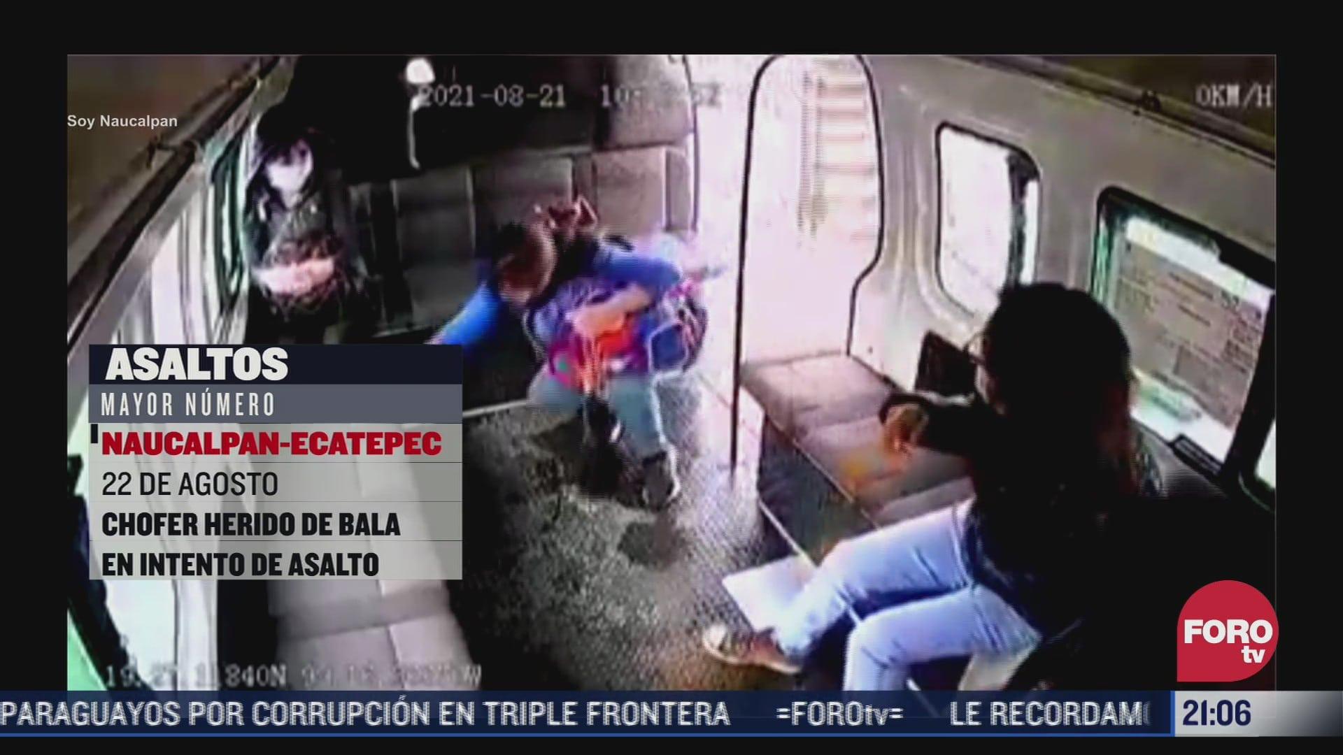 recuento de asaltos en transporte publico del estado de mexico
