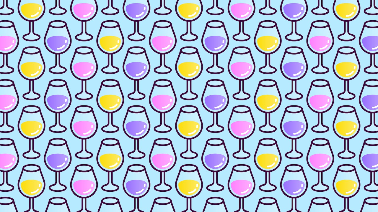 Encuentra tres copas sin vino, ilustración