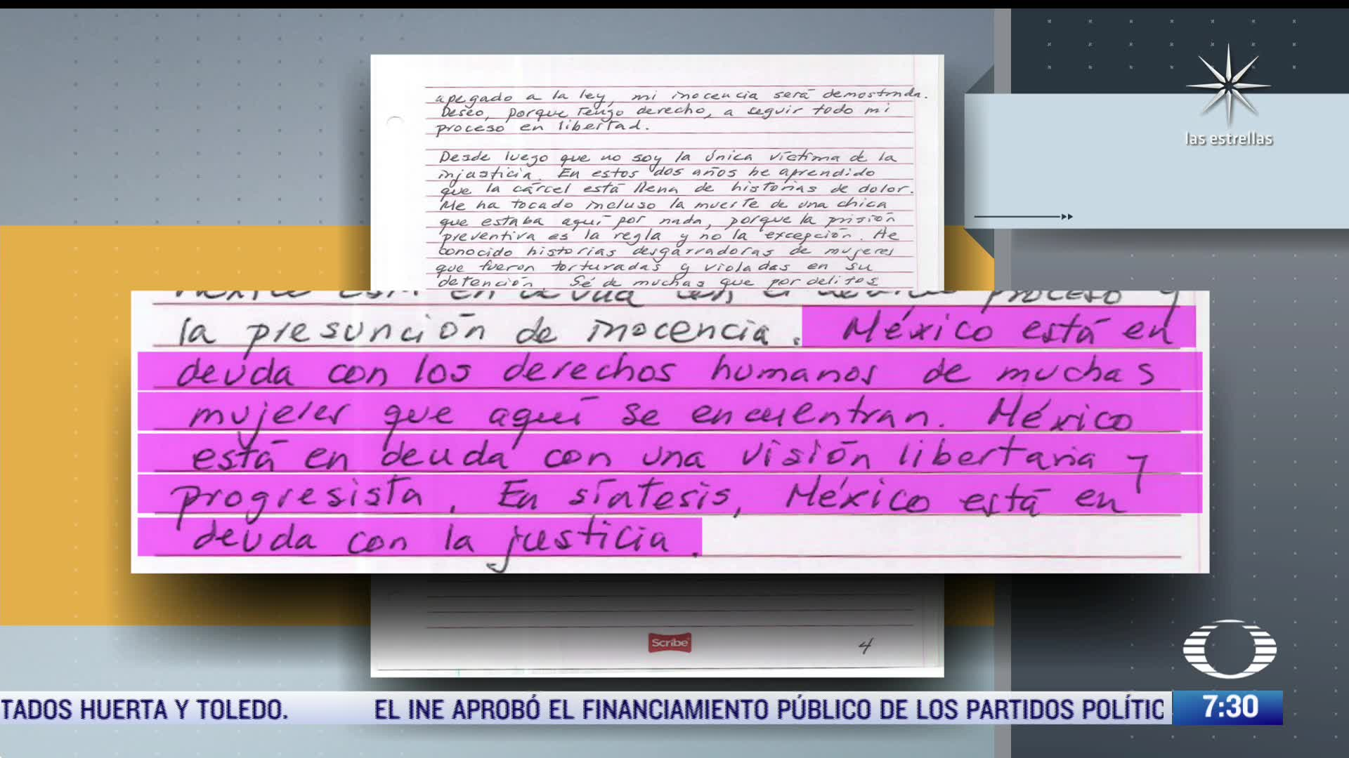 Rosario Robles asegura, en carta, que lleva dos años de estar recluida injustamente