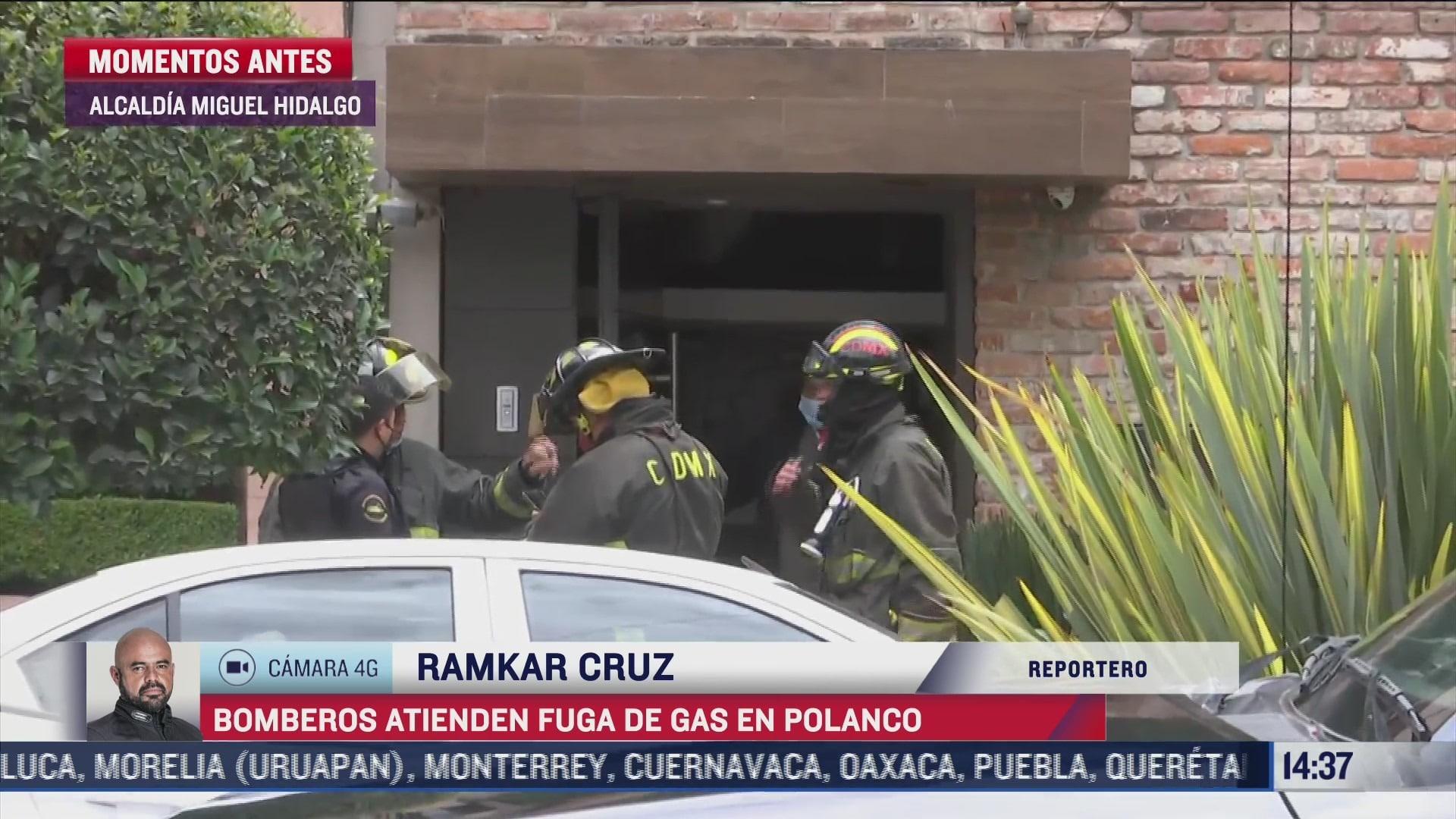 Bomberos atienden fuga de gas en Polanco, CDMX