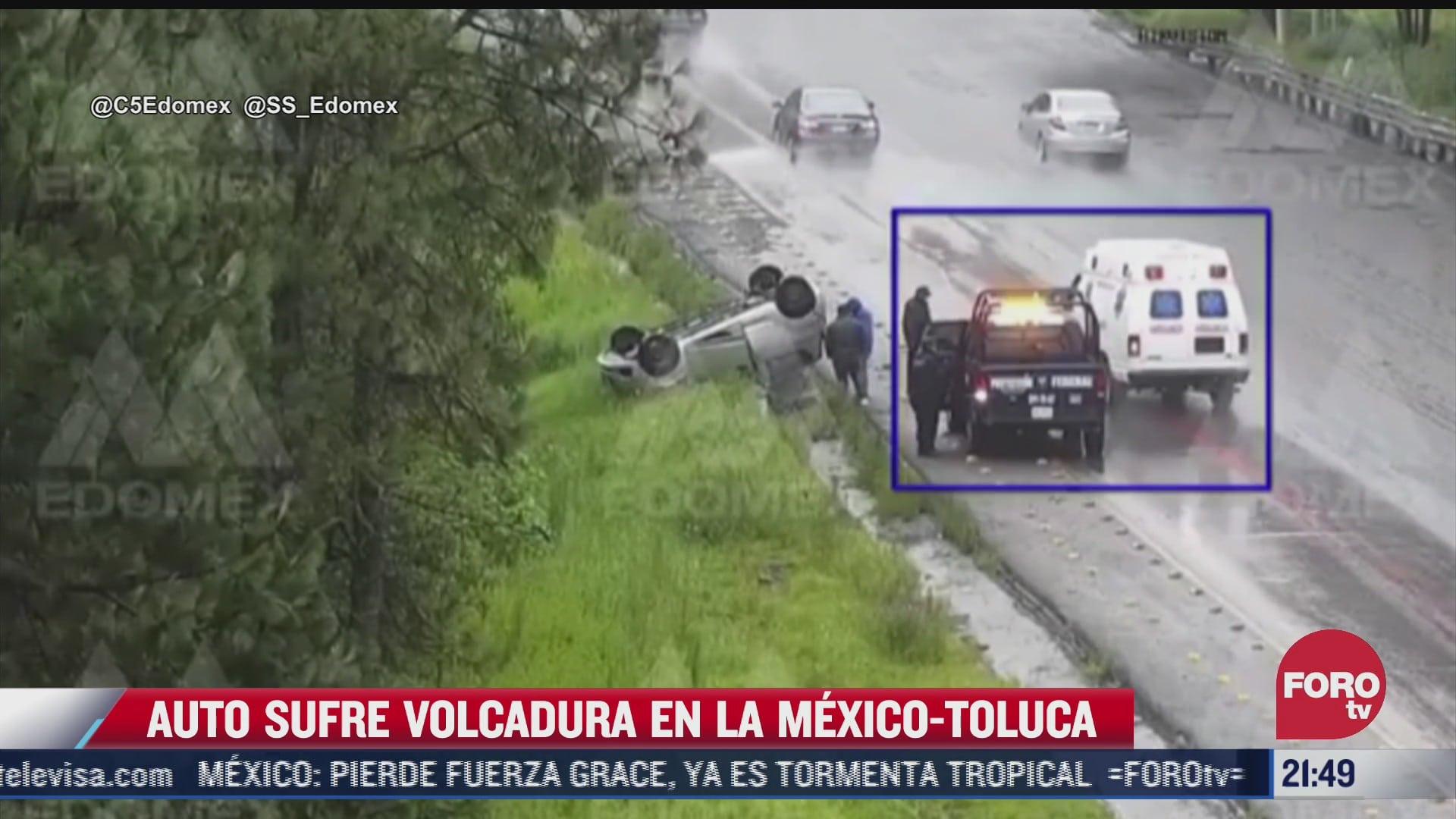 video auto sufre volcadura en la mexico toluca