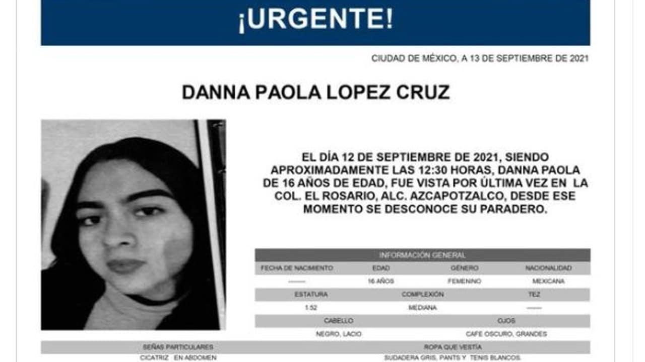 Activan Alerta Amber para Danna Paola López Cruz