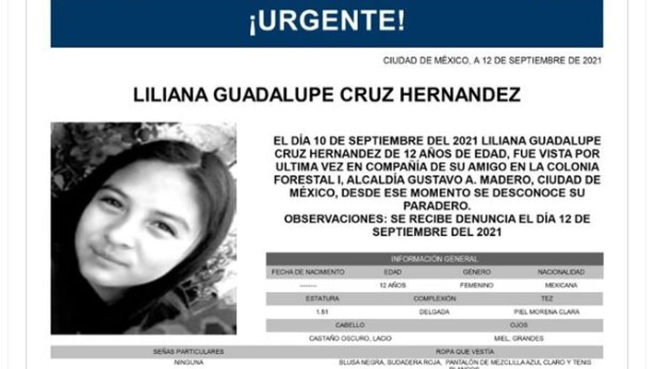 Activan Alerta Amber para Liliana Guadalupe Cruz Hernández