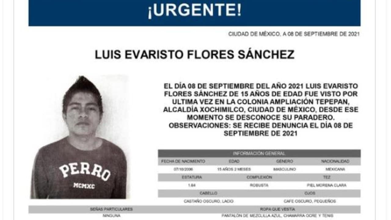 Activan Alerta Amber para Luis Evaristo Flores Sánchez.
