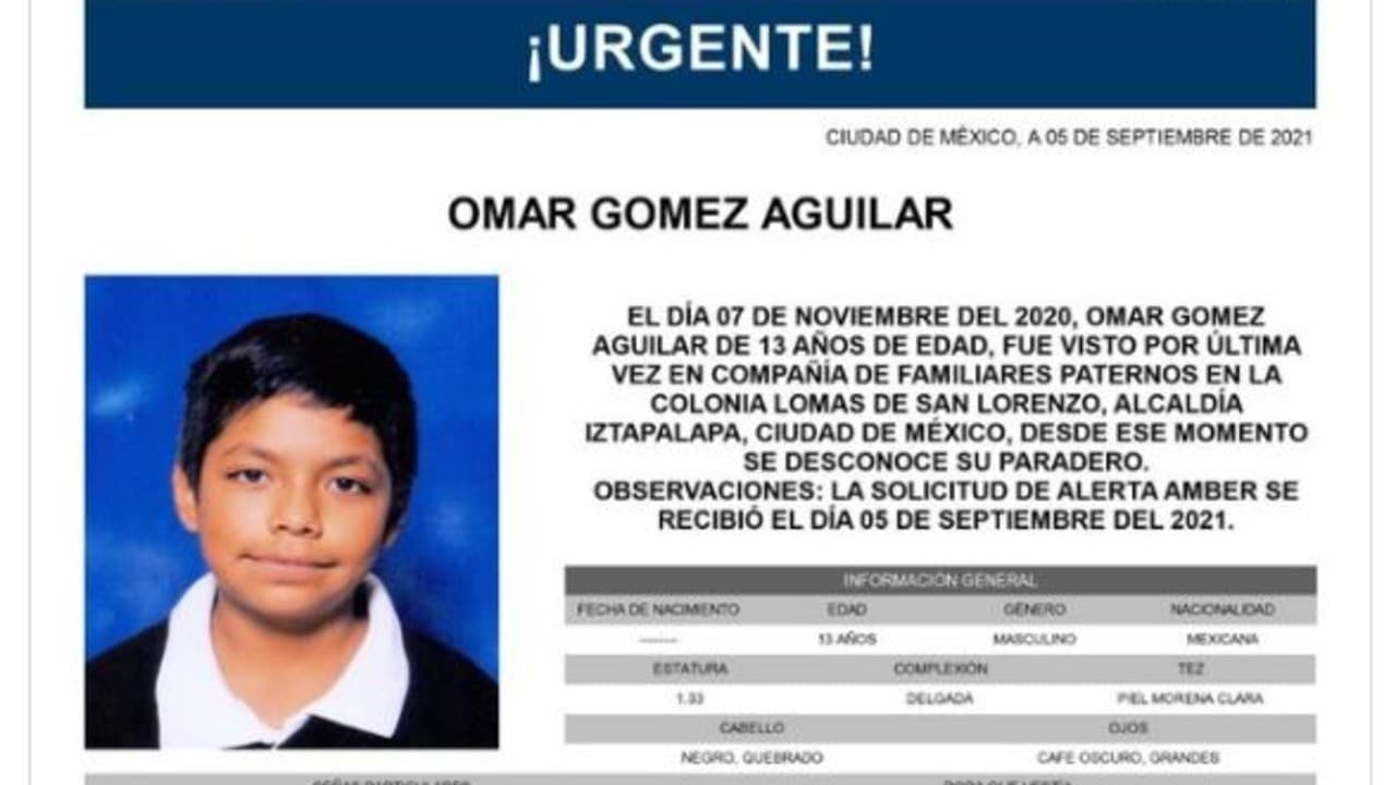 Activan Alerta Amber para Omar Gómez Aguilar
