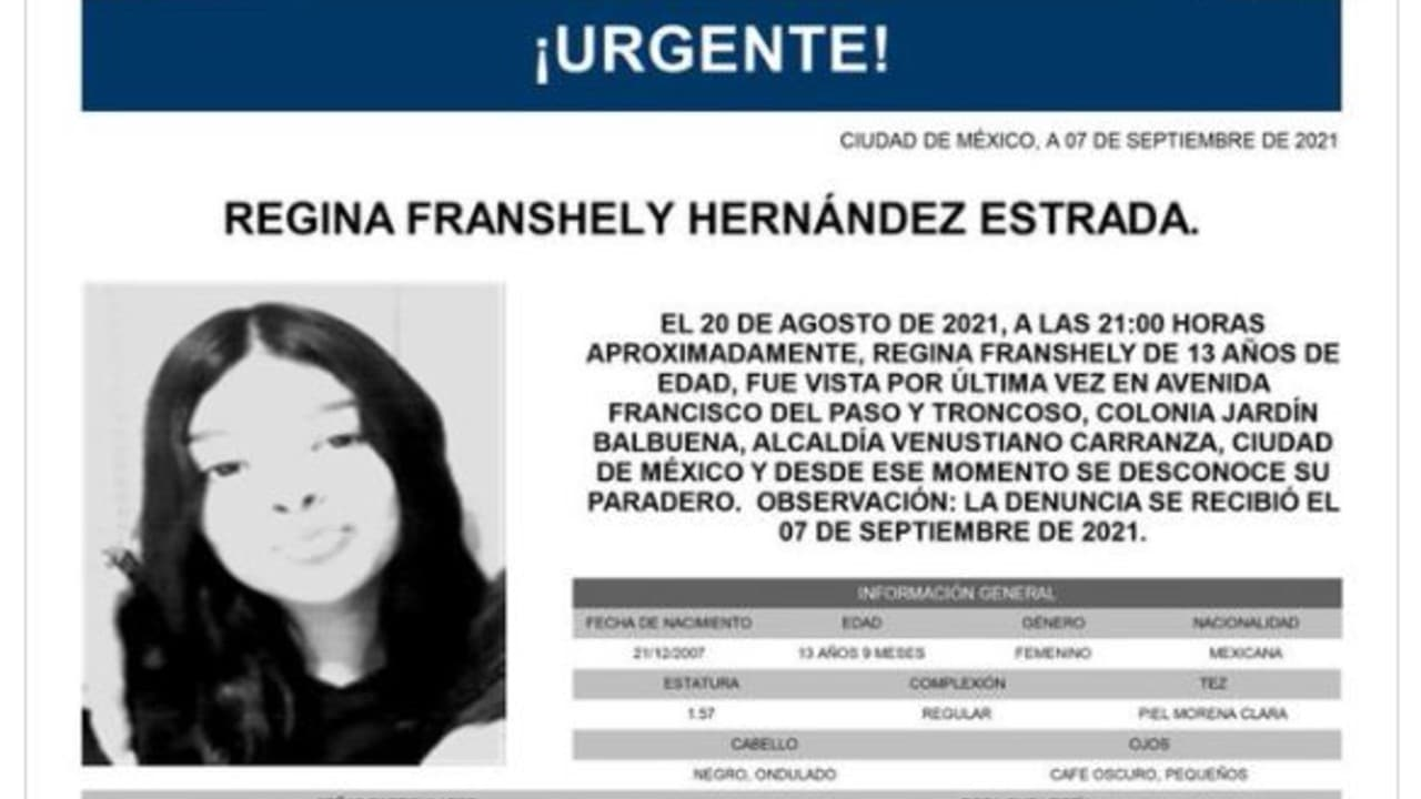 Activan Alerta Amber para Regina Franshely Hernández Estrada