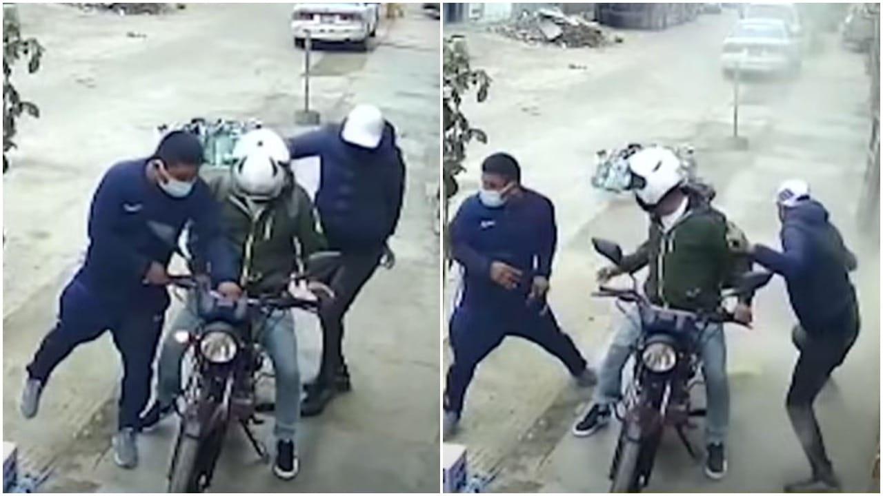 Albañiles detienen asalto en Perú al lanzar bulto de cemento a ladrones