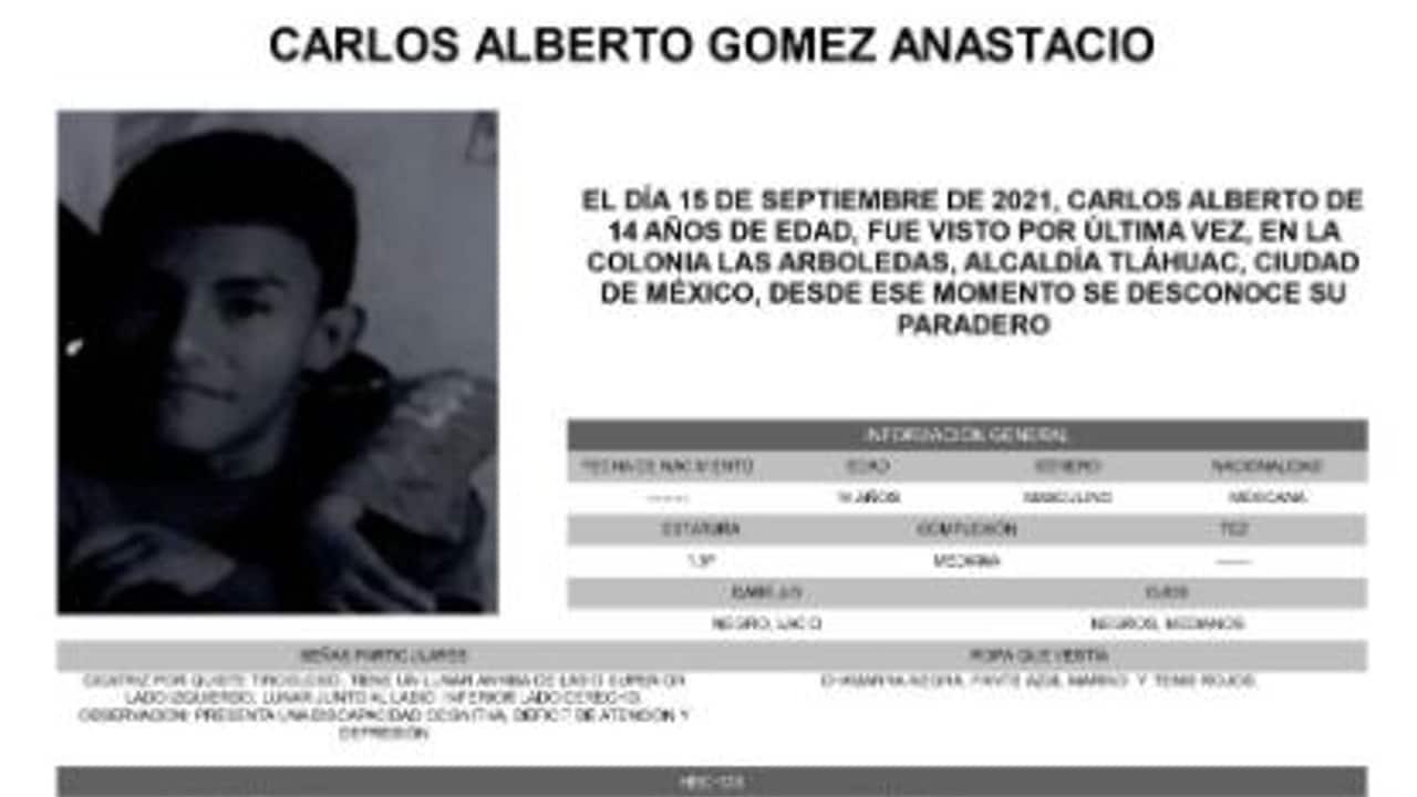 Activan Alerta Amber para localizar a Carlos Alberto Gómez Anastacio.
