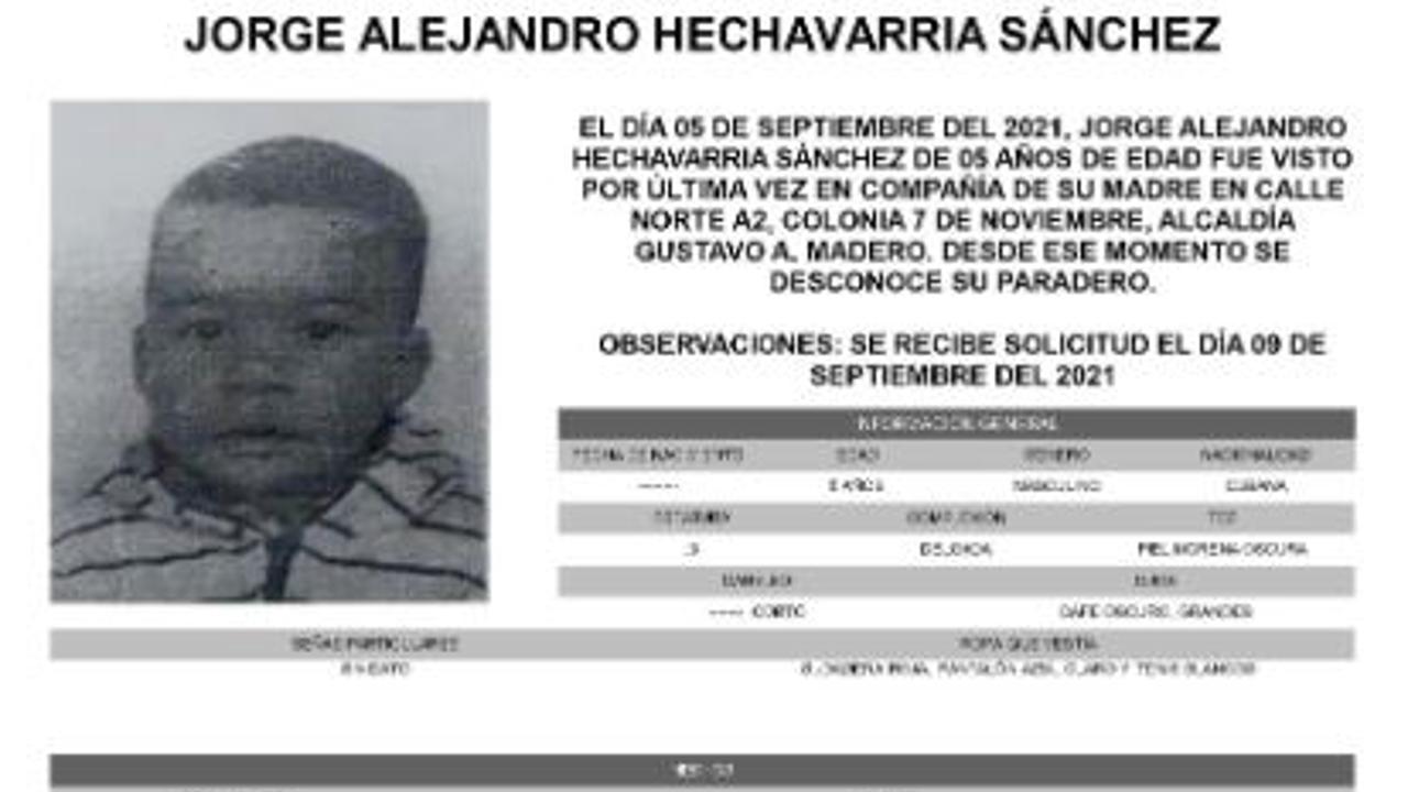 Activan Alerta Amber para localizar a Jorge Alejandro Hechavarria Sánchez.
