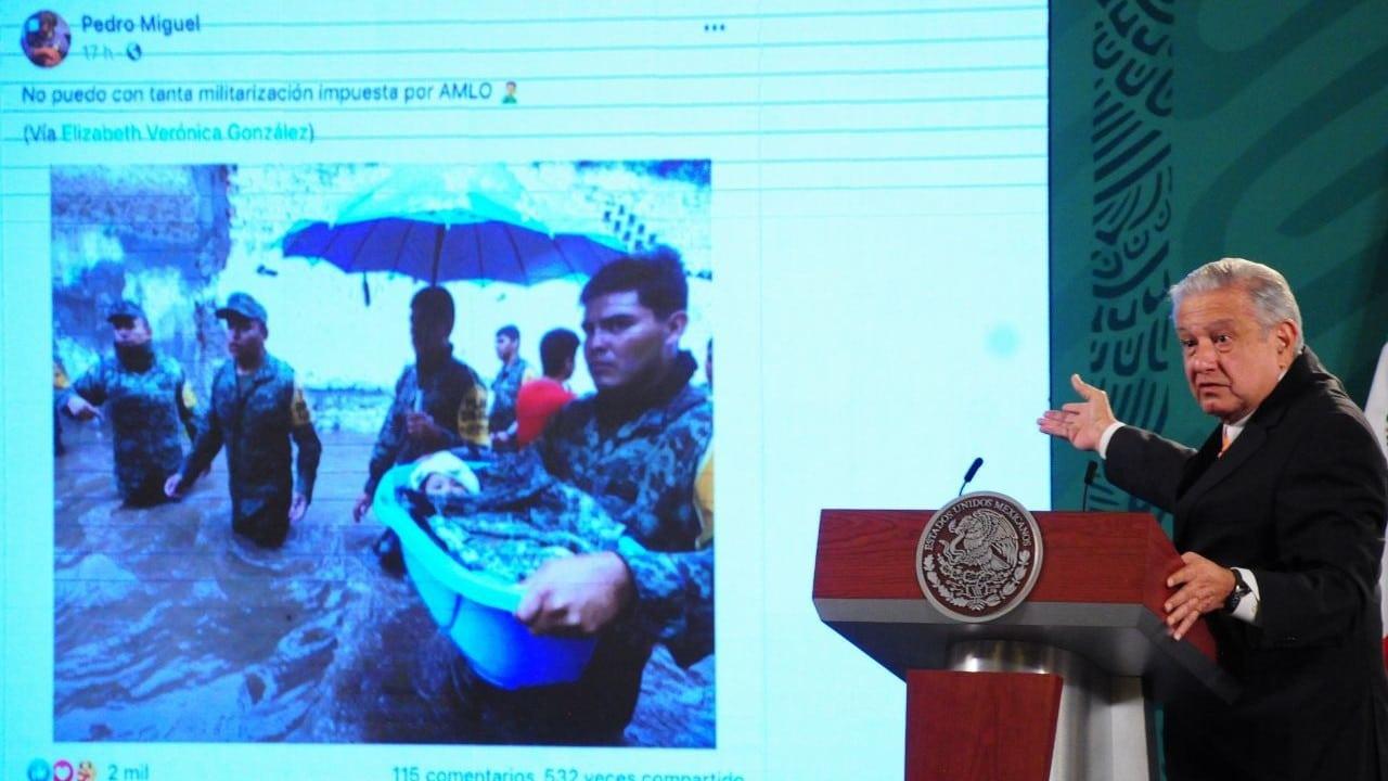 AMLO niega militarización y reconoce labor del Ejército en desastres naturales