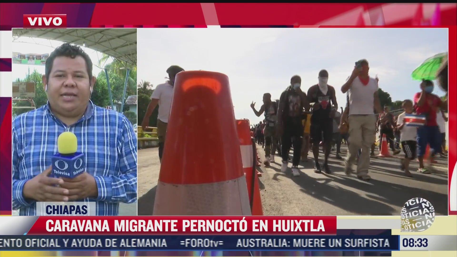 caravana migrante llega al municipio de huixtla chiapas