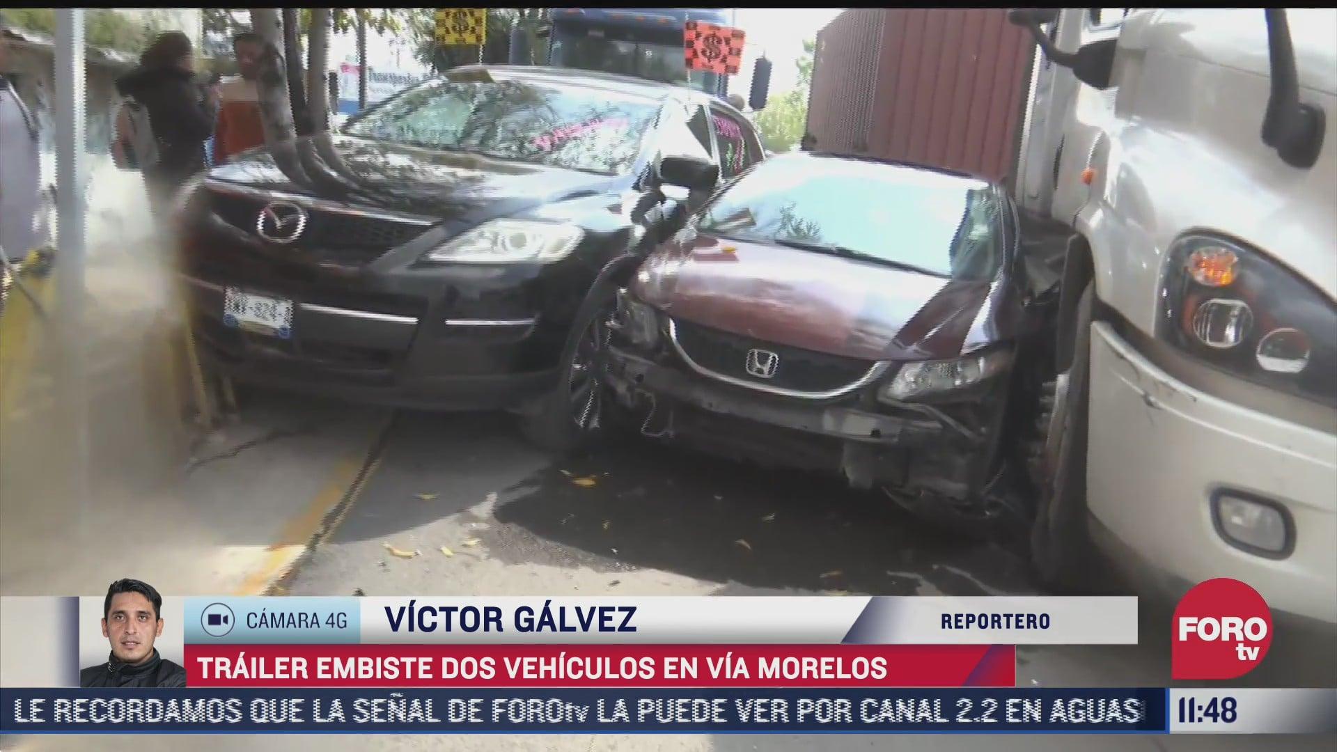 conductor sale por quemacocos durante choque en via morelos estado de mexico