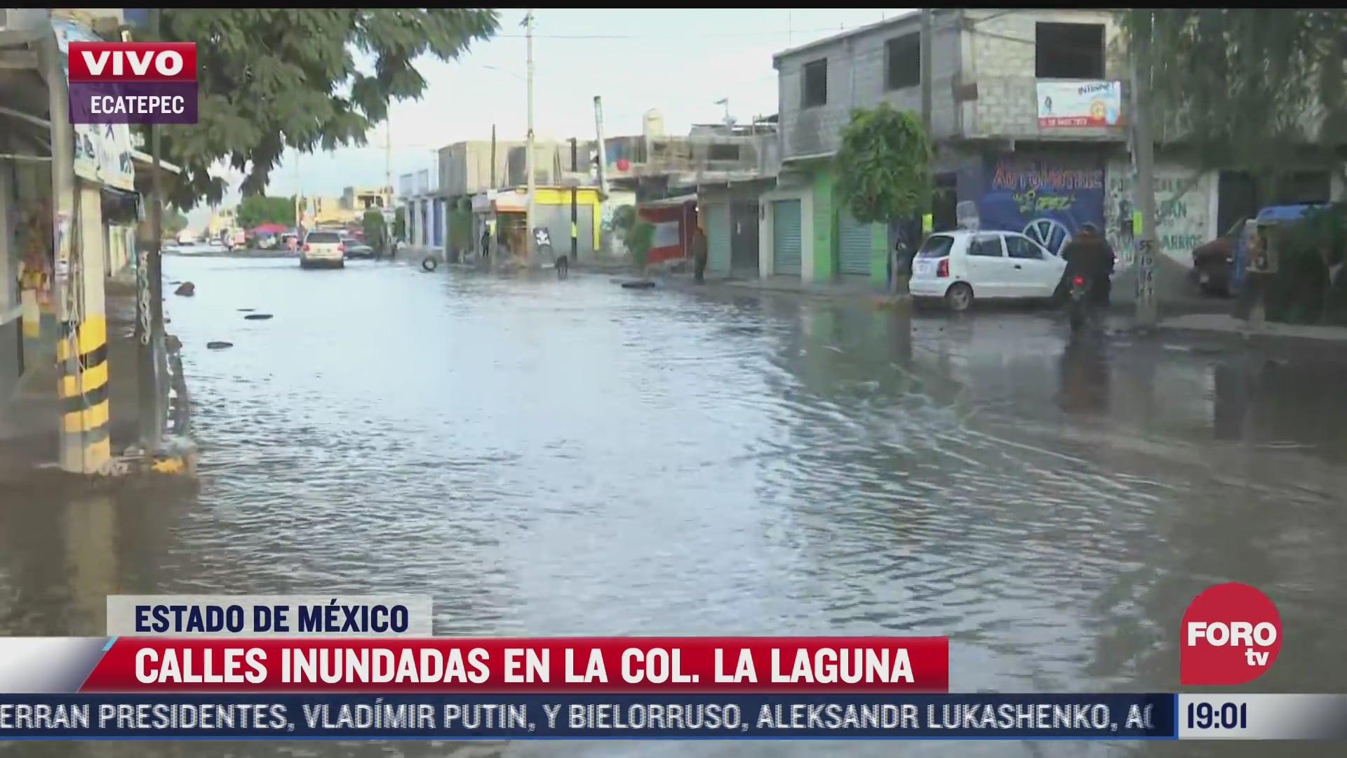 continuan inundadas las calles en la colonia la laguna en ecatepec