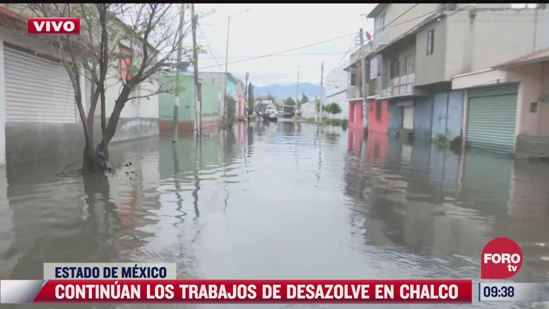 continuan los trabajos de desazolve en chalco estado de mexico tras inundaciones