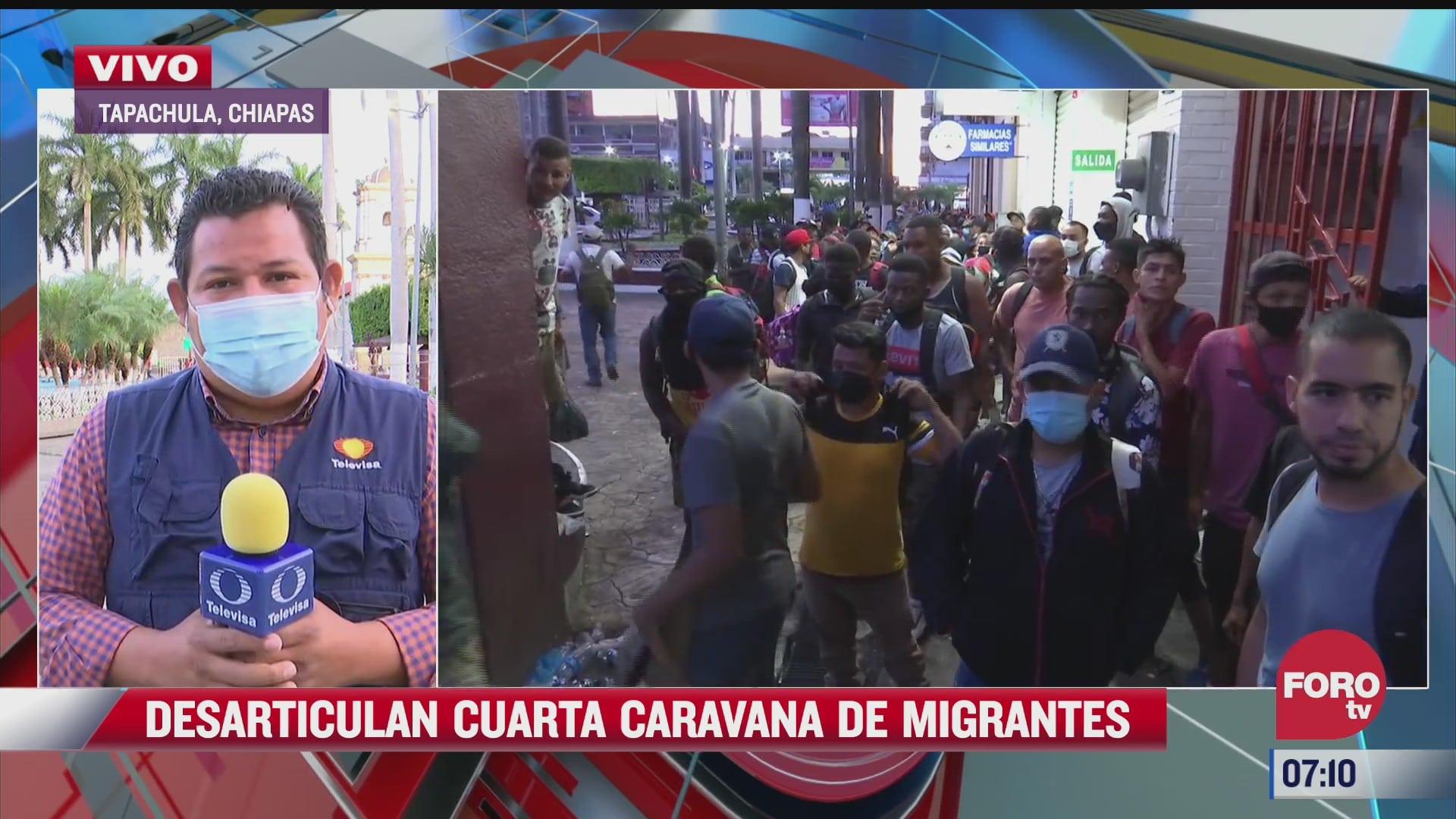 desarticulan cuarta caravana de migrantes en chiapas