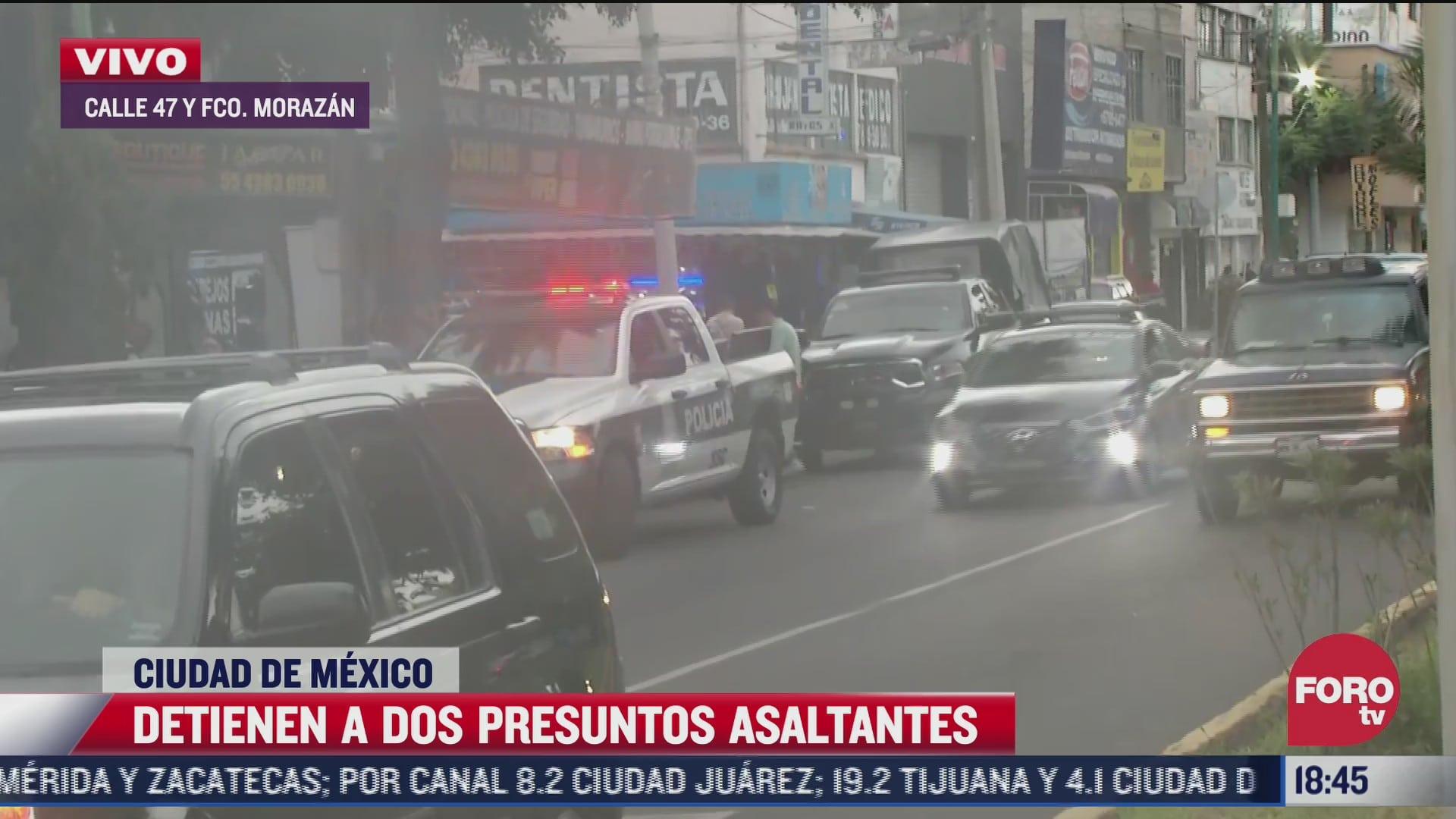 detienen a dos presuntos asaltantes en calles de cdmx
