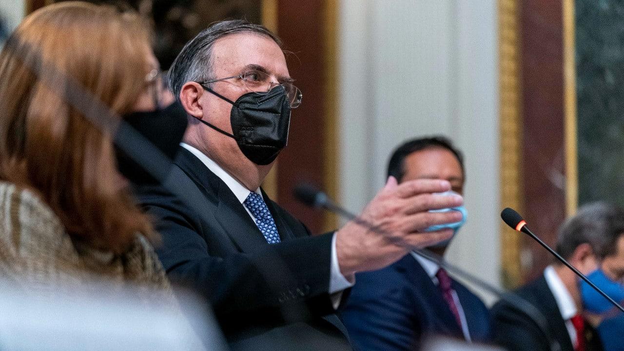 El canciller Marcelo Ebrard durante el Diálogo de Alto Nivel en EEUU