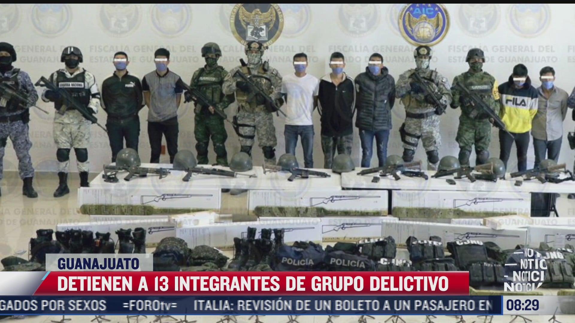 en guanajuato detienen a 13 integrantes de un grupo delictivo del estado de jalisco
