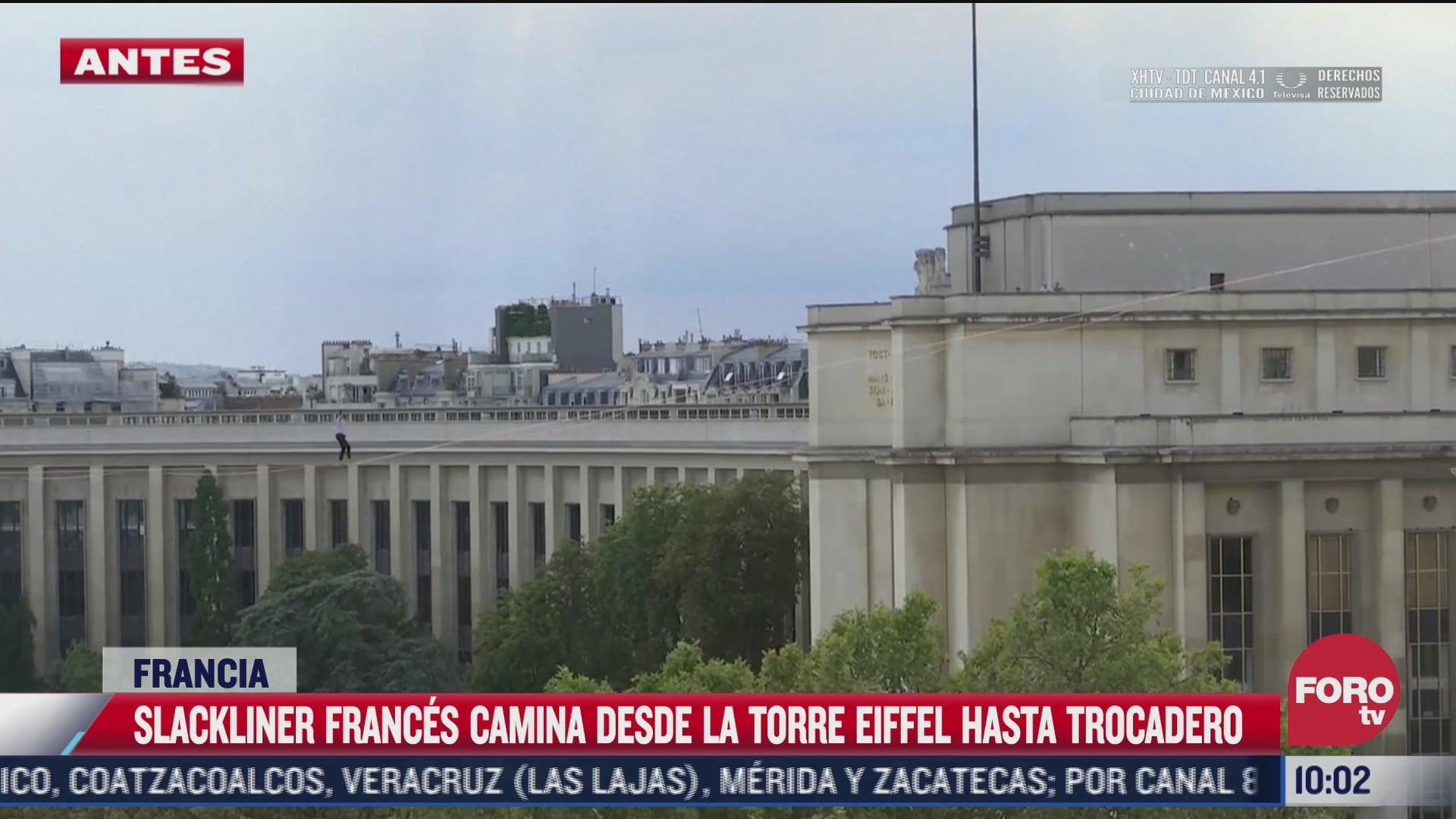 equilibrista recorre 670 metros desde torre eiffel hasta plaza trocadero en paris