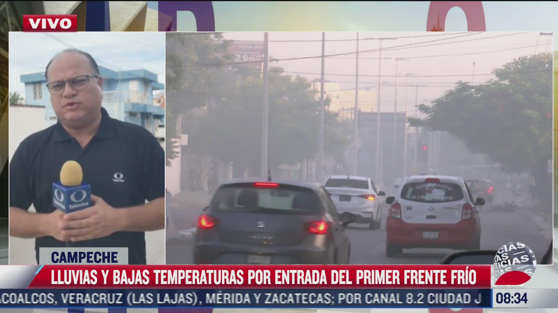 frente frio provoca lluvias fuertes y bajas temperaturas en campeche