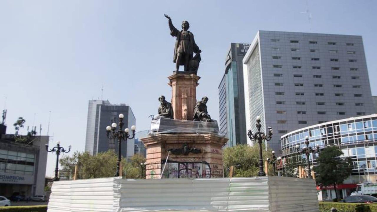 INAH sigue con restauración del monumento de Cristóbal Colón