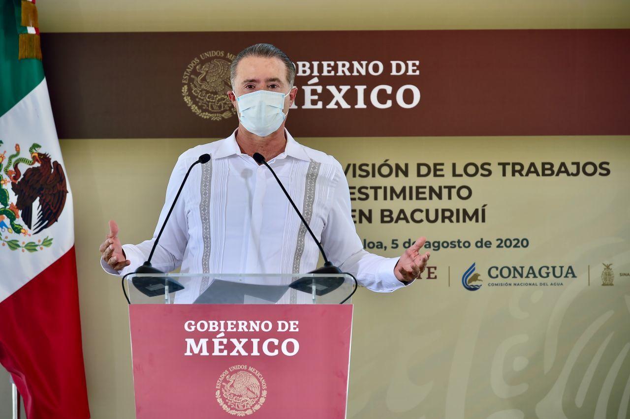 El gobernador de Sinaloa, Quirino Ordaz Coppel, durante su intervención.