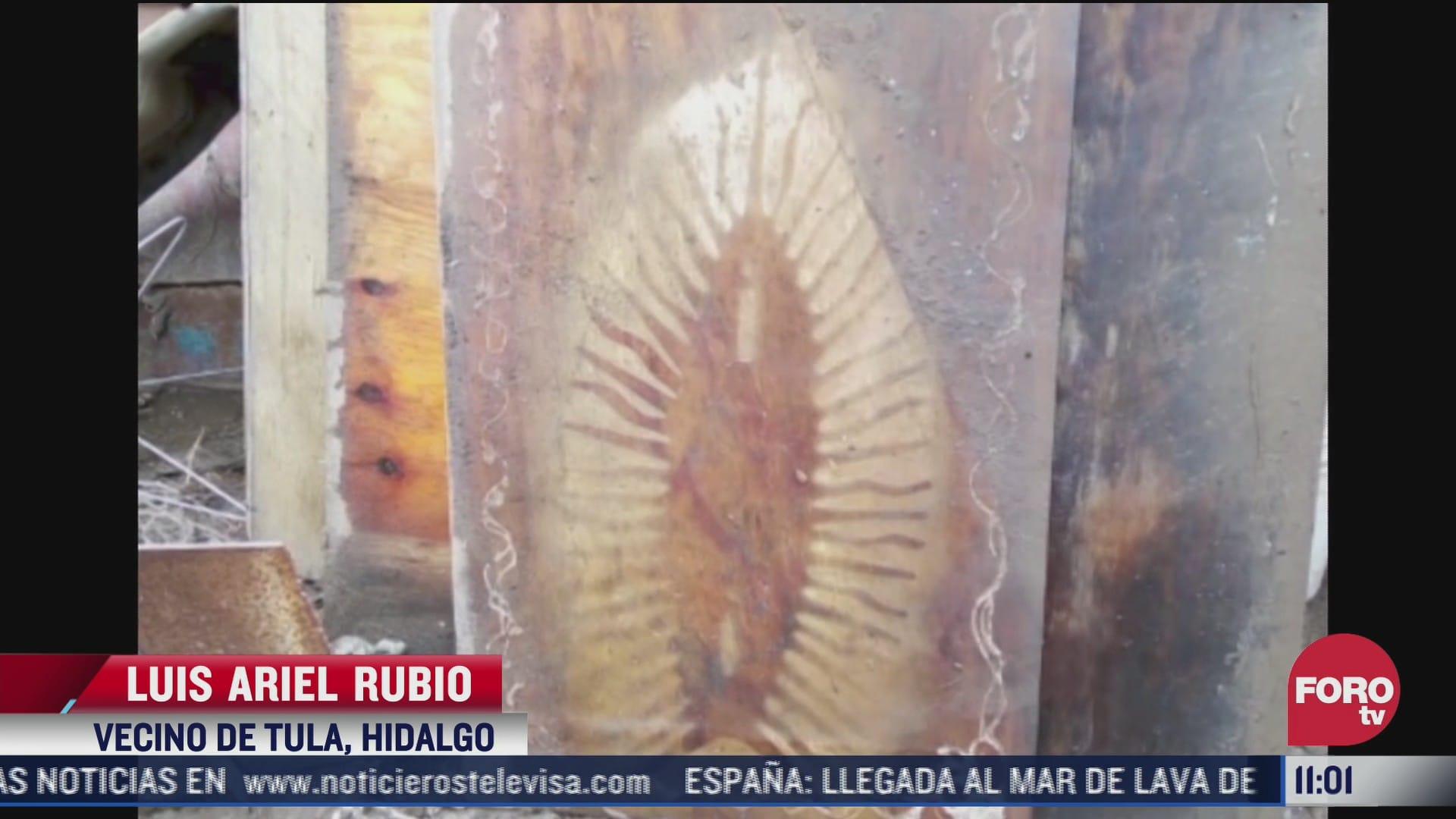 hallan imagen de la virgen de guadalupe en trozo de madera tras inundaciones en hidalgo