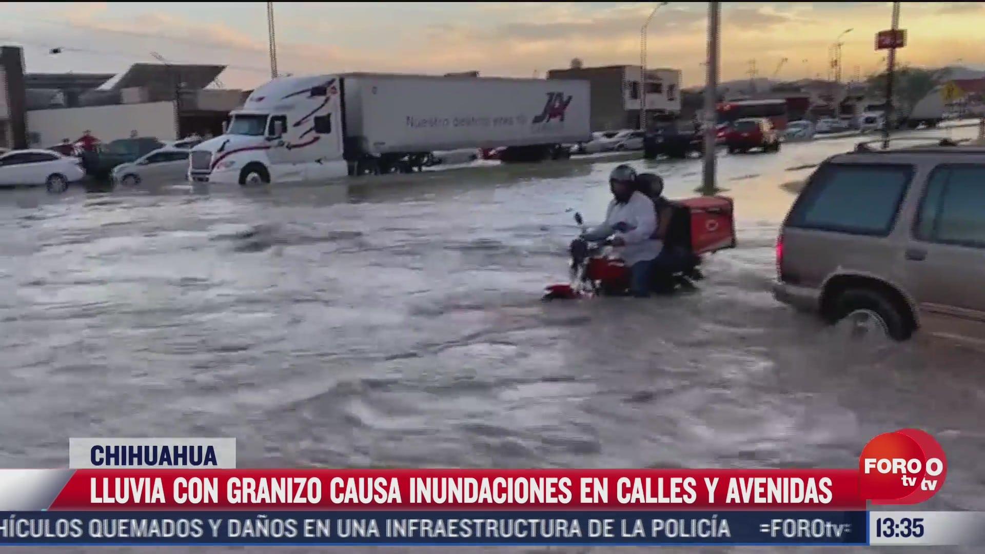 lluvia con granizo causa inundaciones en chihuahua