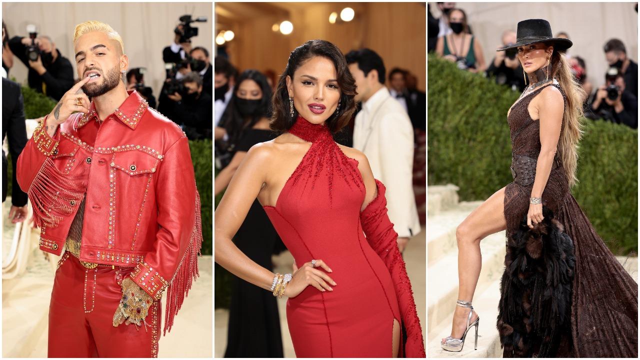 Maluma, Eiza Gonzalez. Jennifer Lopez, Met Gala, Collage