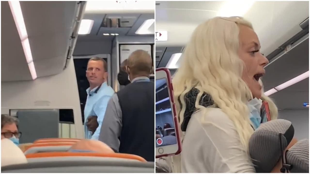 cubrebocas, pasajeros, vuelo, video viral, captura de pantalla