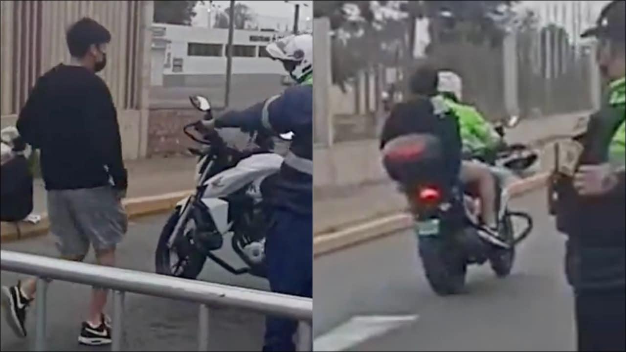 Policía en Perú ayuda a joven a que llegue a tiempo a su examen y video es viral