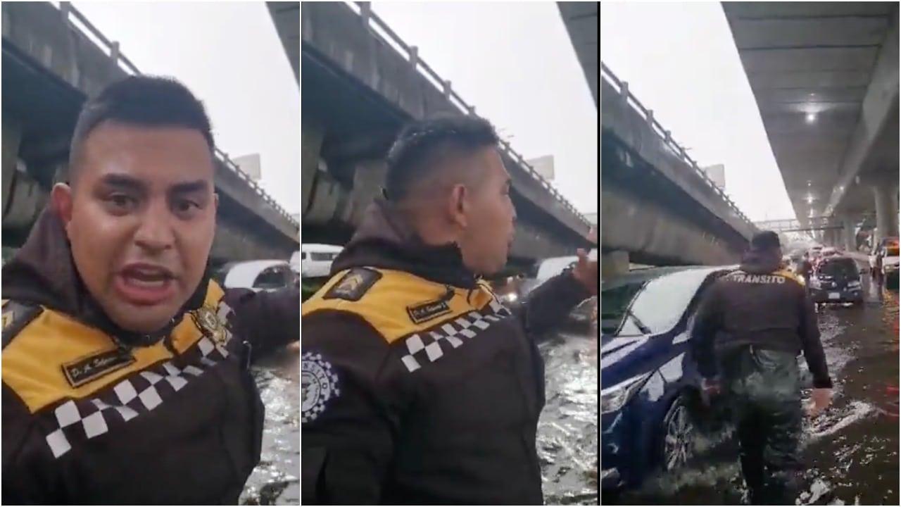 Policía Mete Charco Dirigir Tráfico