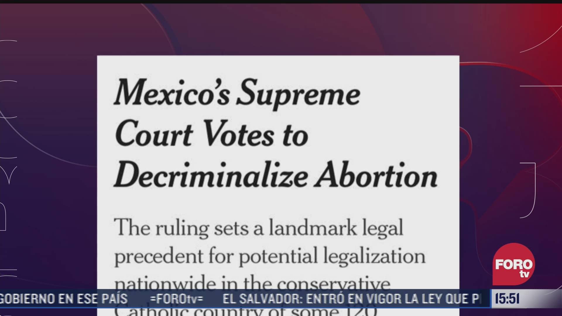 prensa internacional reacciona a la despenalizacion del aborto en mexico