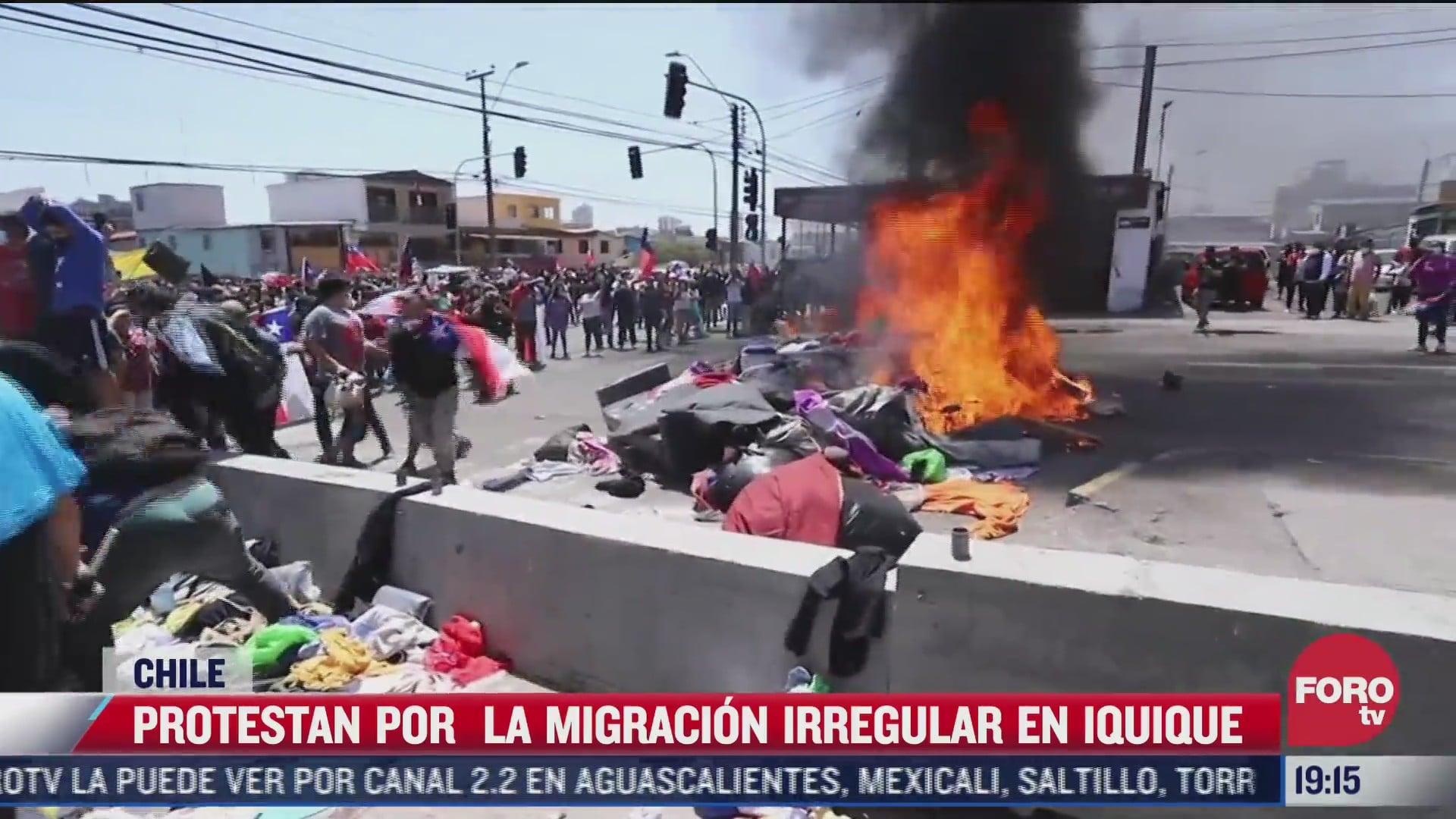 queman pertenencias de migrantes en chile
