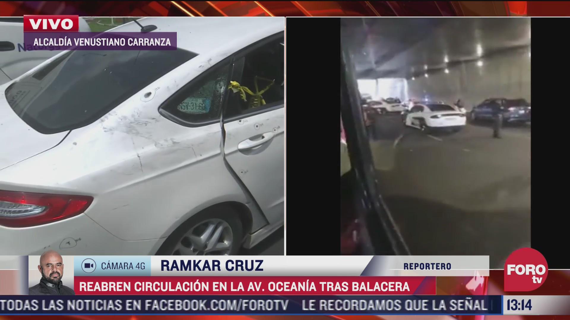 reabren circulacion en avenida oceania cdmx tras balacera que dejo un muerto