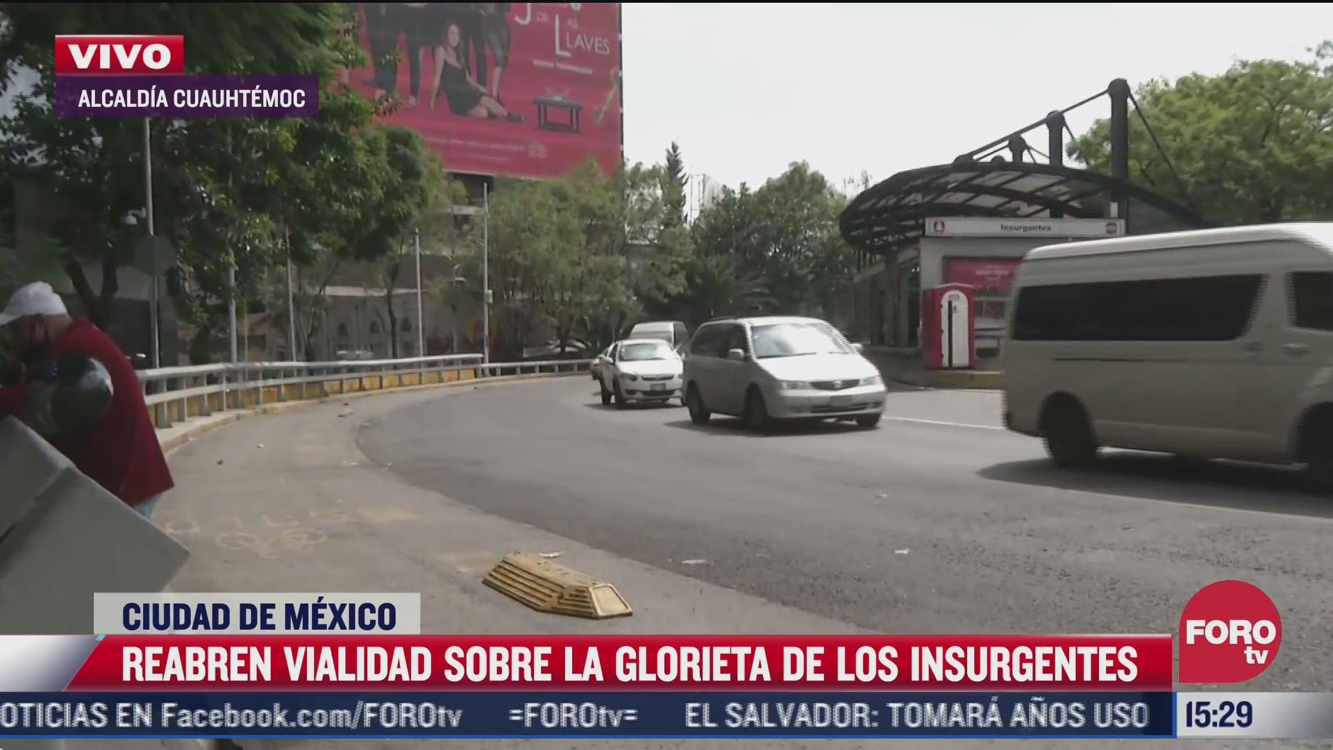 reabren vialidad sobre glorieta de los insurgentes tras bloqueo de normalistas
