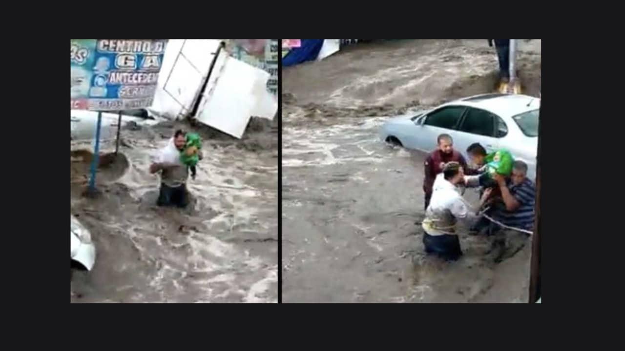 Rescatan a bebé atrapado durante las inundaciones en Ecatepec, Edomex
