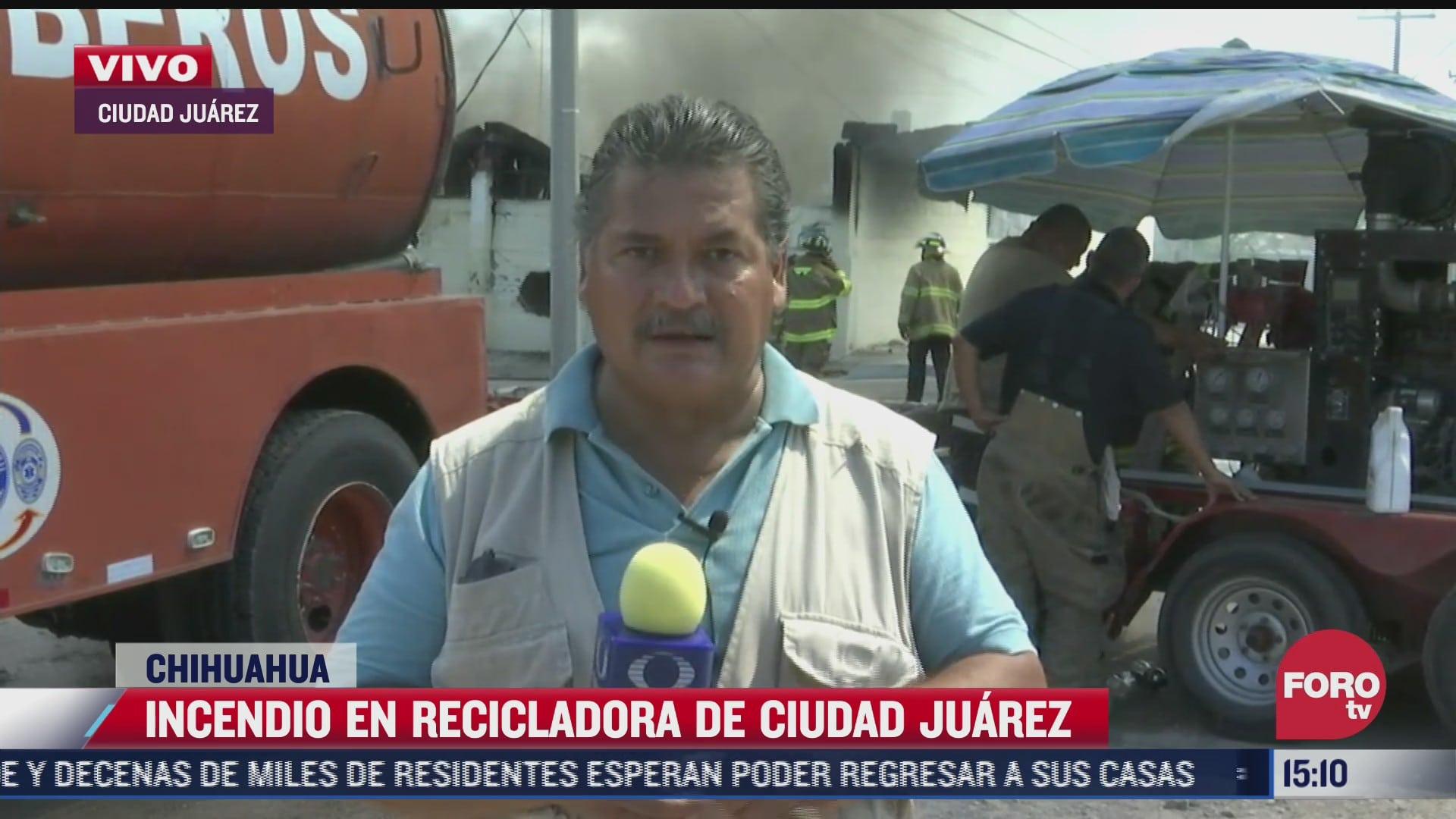 se registra incendio en empresa recicladora de ciudad juarez