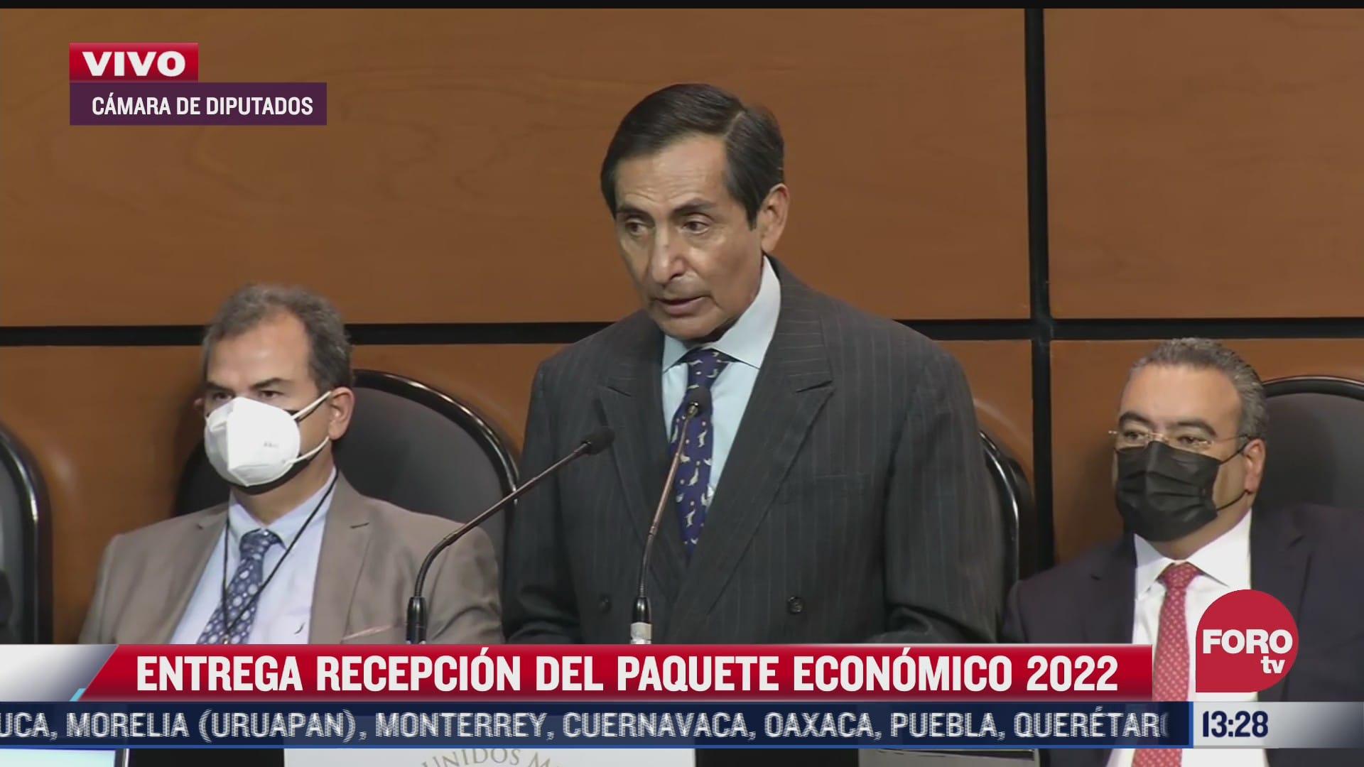 secretario de hacienda entrega el paquete economico 2022 a la camara de diputados