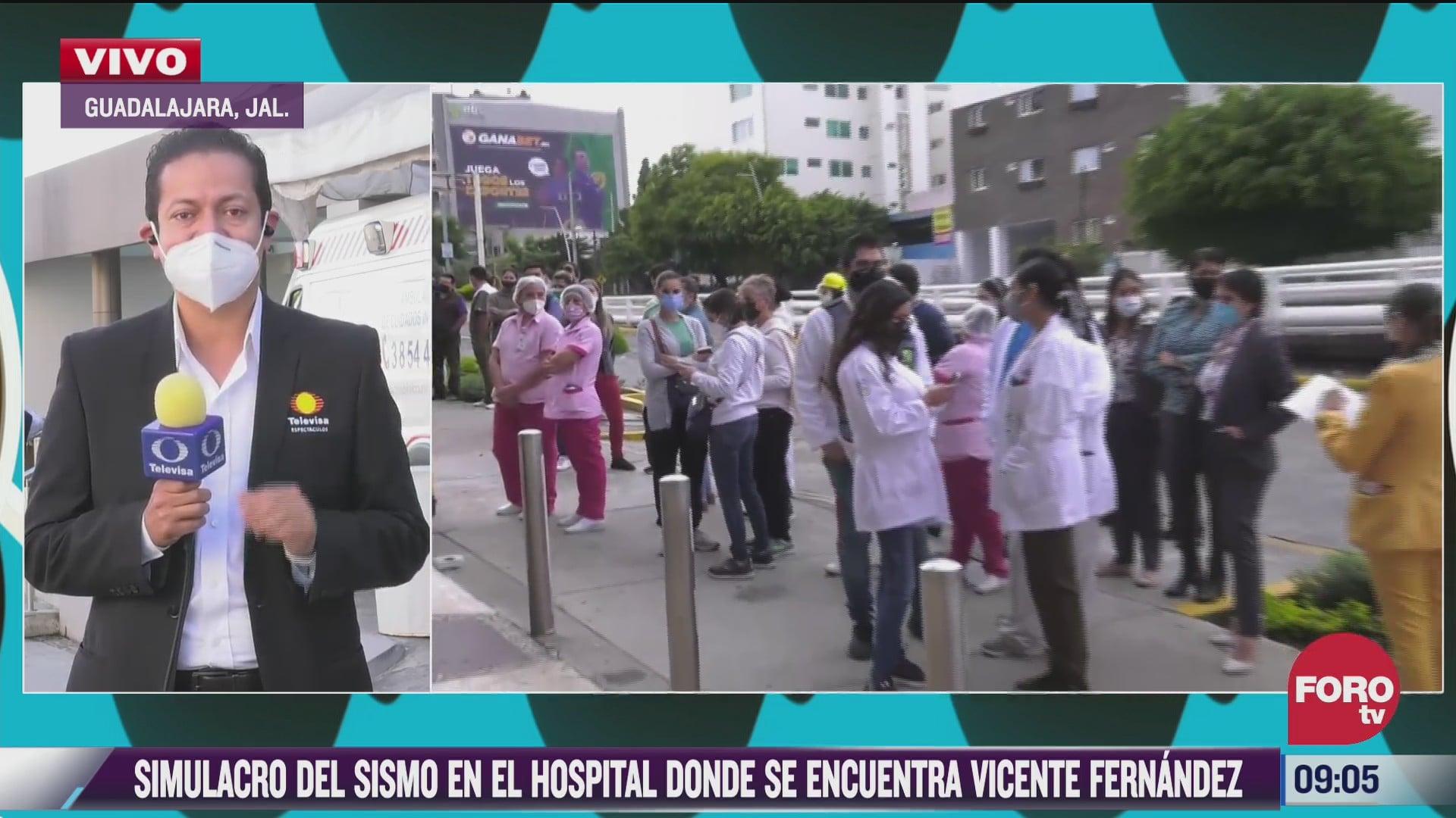 simulacro de sismo en hospital donde esta internado vicente fernandez