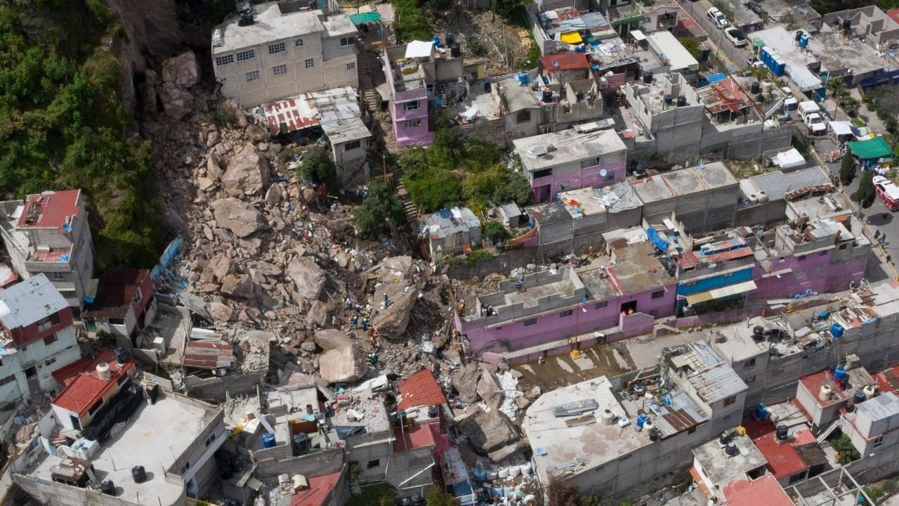Toma aérea de la zona del desgajamiento en el Chiquihuite