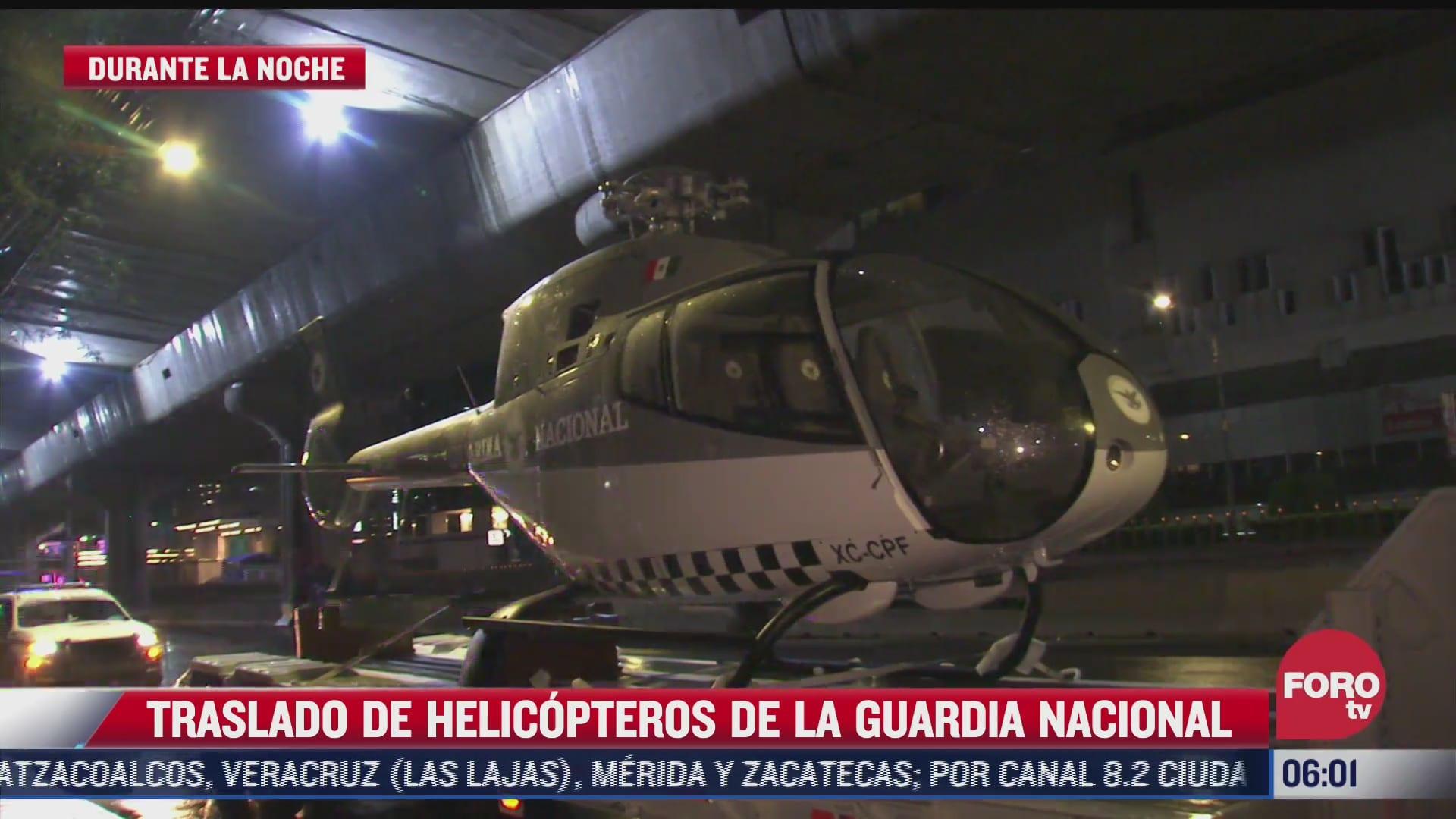 trasladan cuatro helicopteros de la guardia nacional por la cdmx