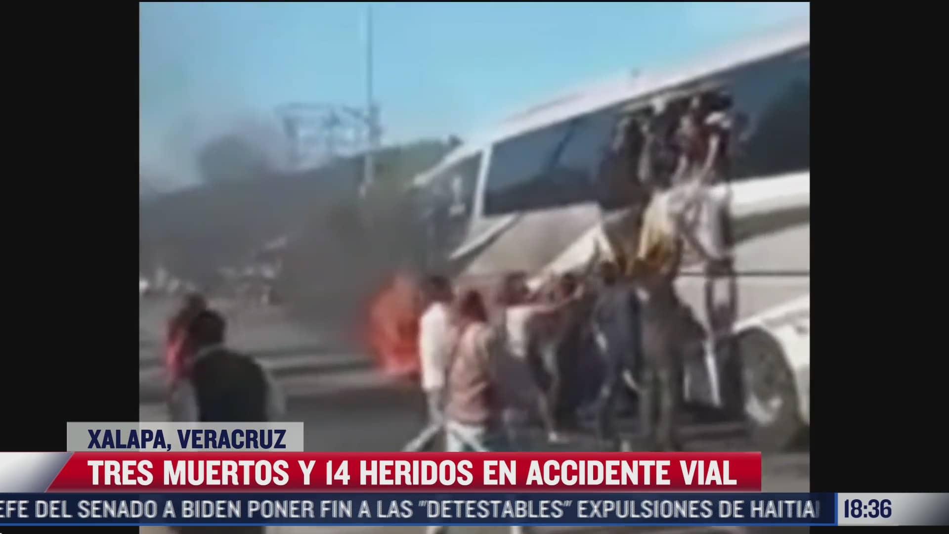 tres muertos y 14 heridos deja accidente vial en xalapa veracruz