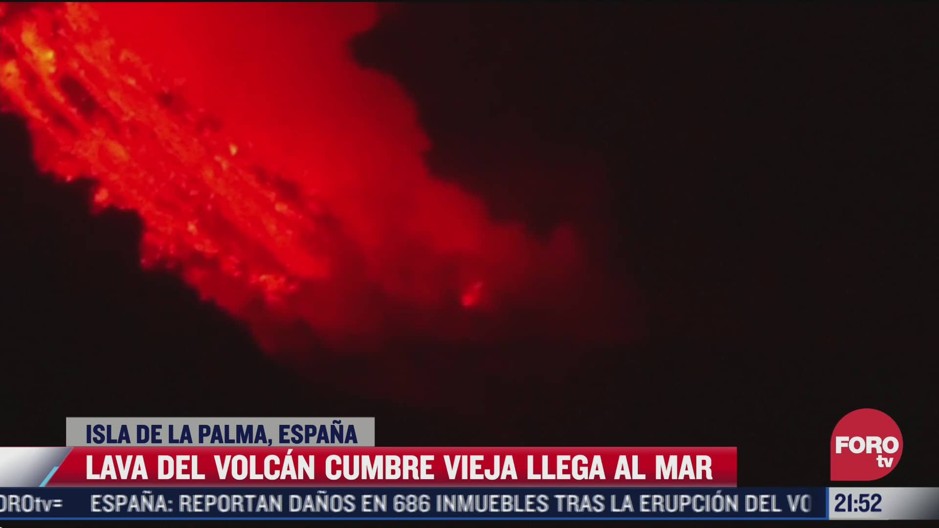 video lava del volcan cumbre vieja llega al mar en la isla de la palma