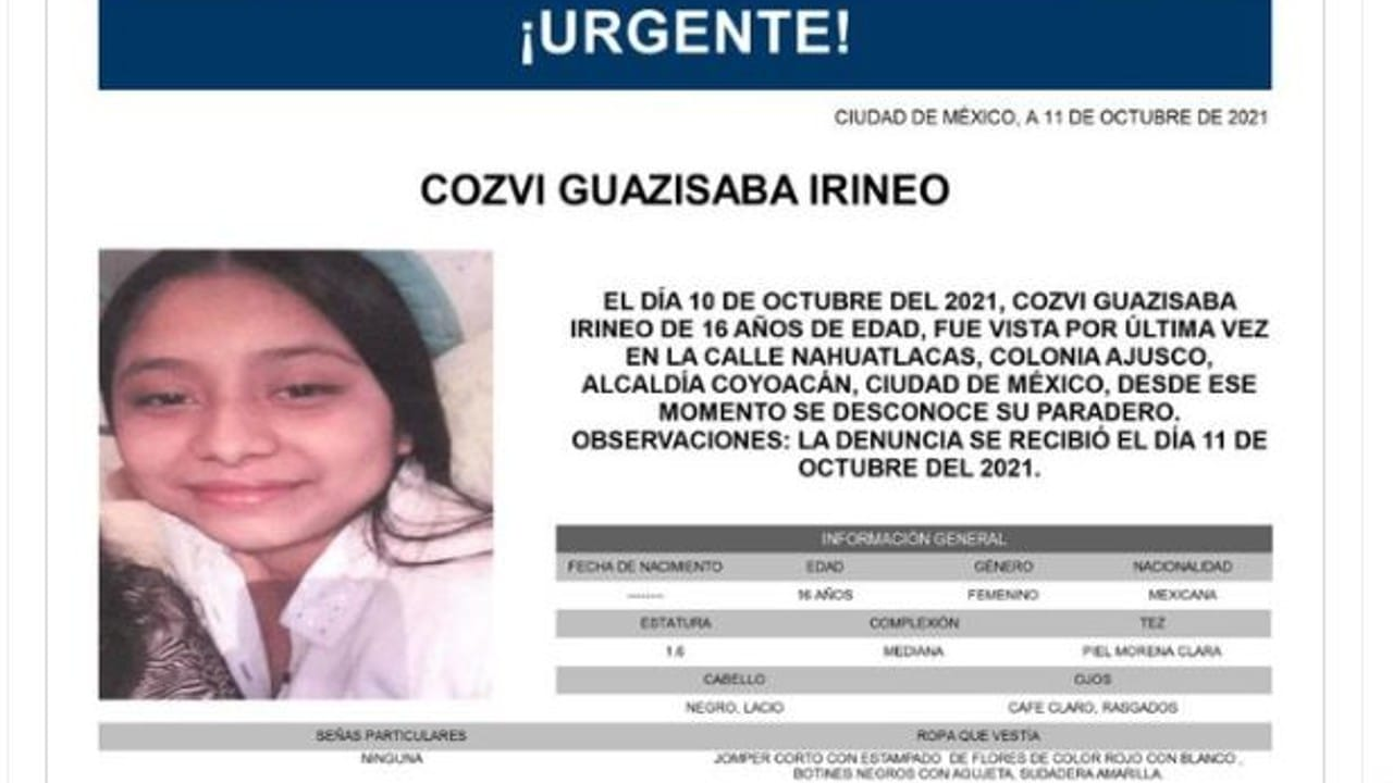 Activan Alerta Amber para localizar a Cozvi Guazisaba Irineo