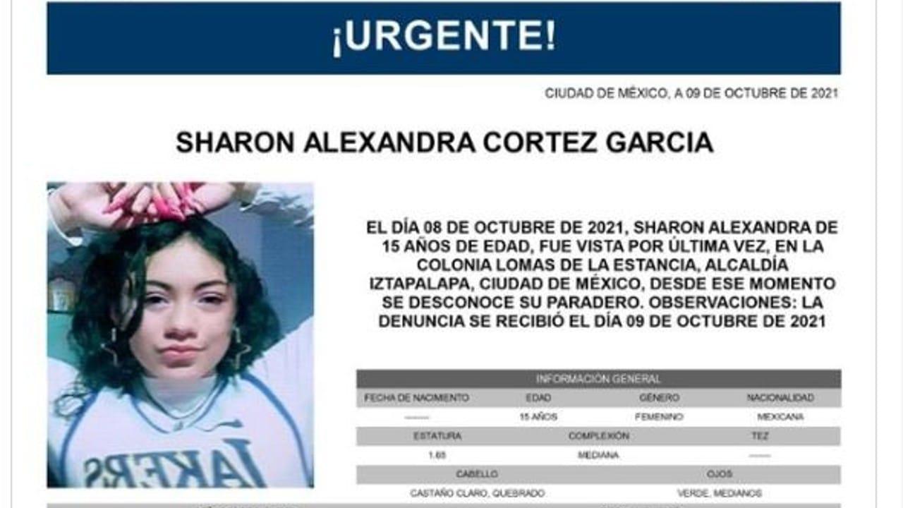 Activan Alerta Amber para localizar a Sharon Alexandra Cortez García.
