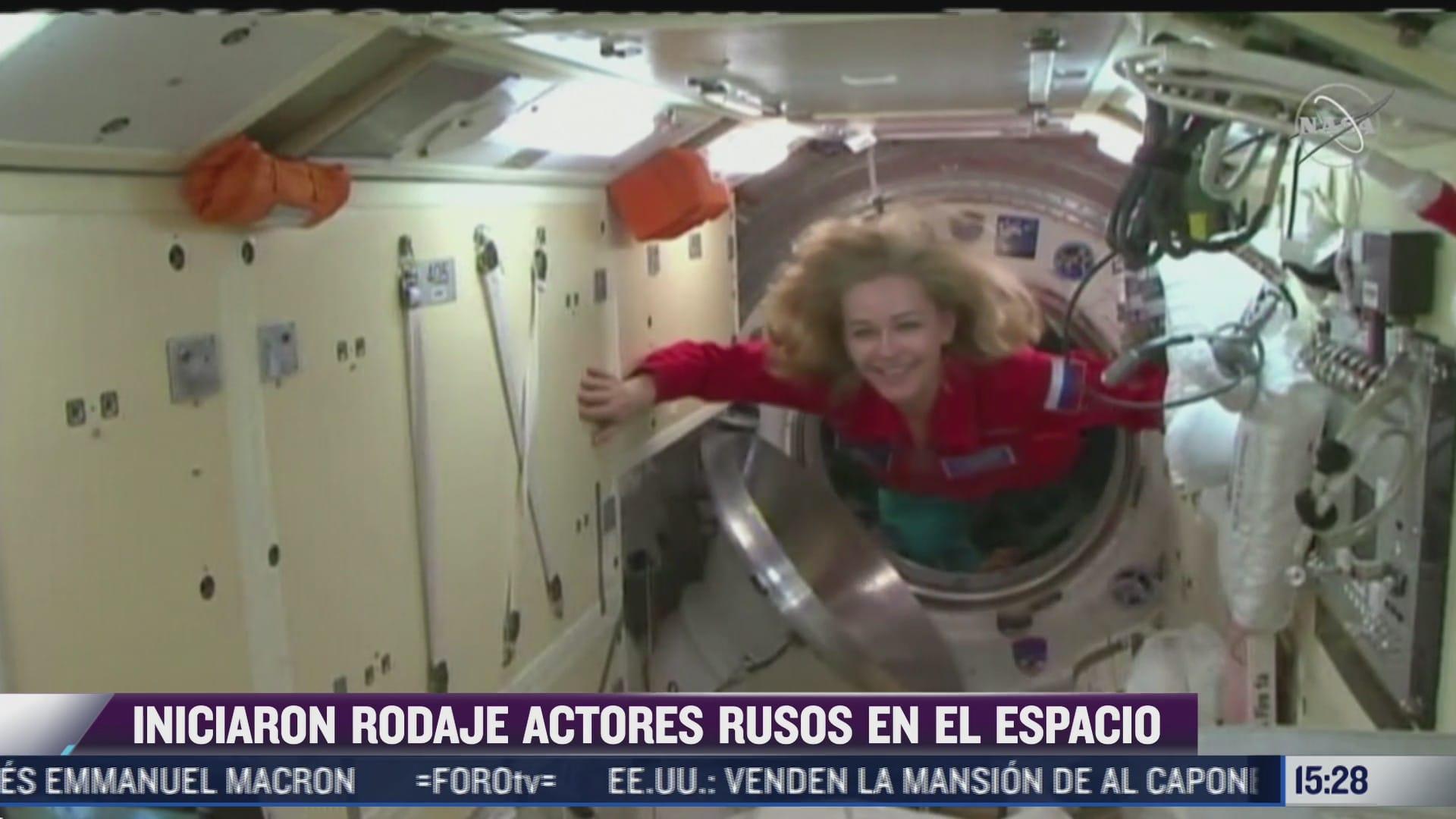 actriz rusa llega a la estacion espacial internacional para filmacion